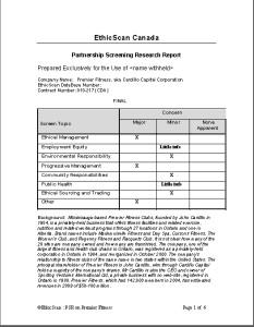 Partnership Screening Report